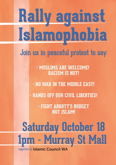 Anti- Islamophobia  Rally Poster_ICWA 2014