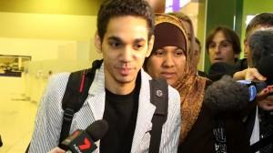 Junaid Thorne on his return from Saudi Arabia at Perth International Airport last year