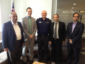 Department of Immigration and Australian Border Protection Service regional heads with Islamic Council of WA Executive Committee members at Immigration Dept HQ.  Perth Photo: ICWA