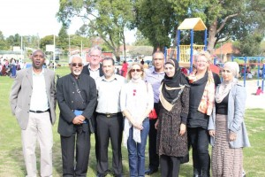 ICWA president with school administrator, member of parliament and supporters