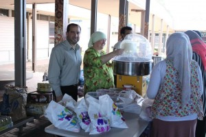 Dr Rateb Jneid with school stall