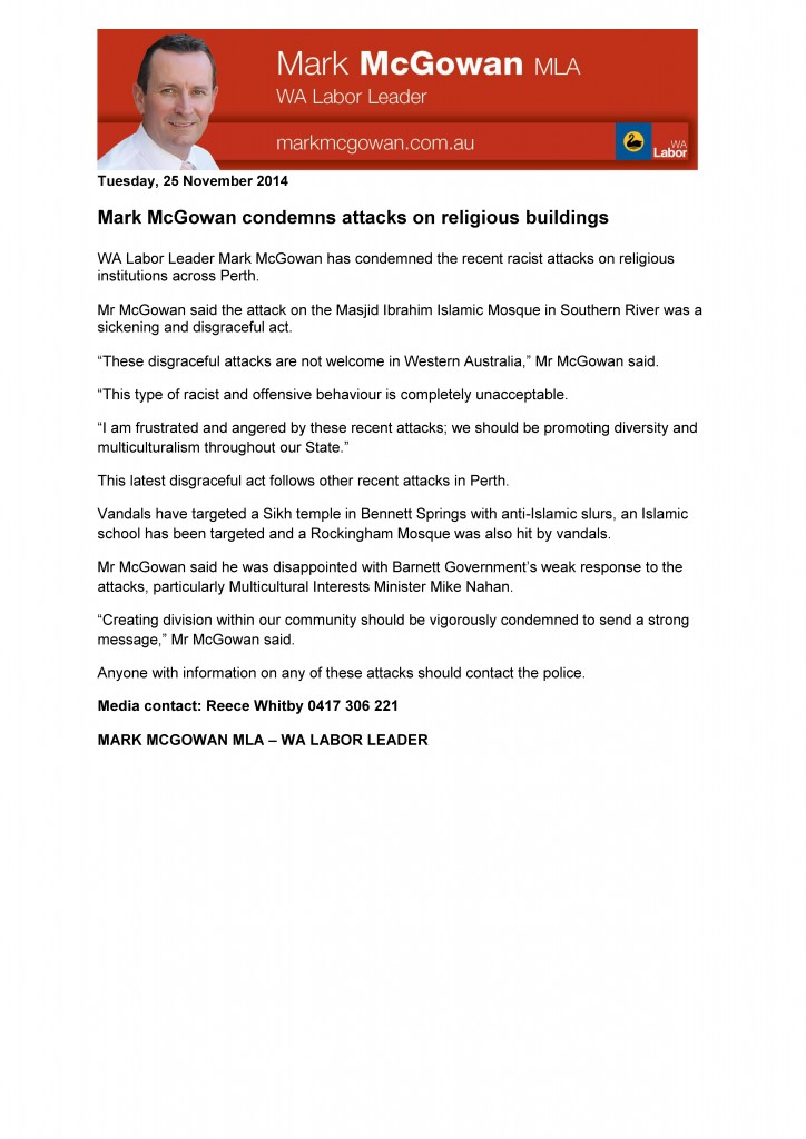 Mark McGowan letter to Muslim community