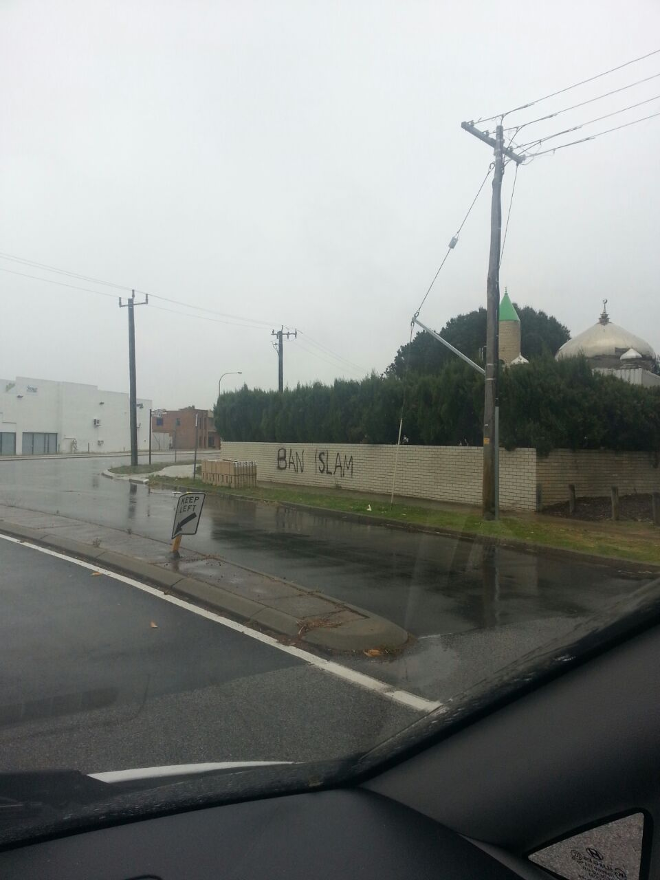 A 'ban Islam'  sprayed on walls of Canning Mosque.  Photograph: unknown source. Photo: unknown