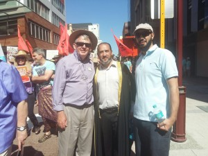 Islamic Council of WA  president Br Rateb Jneid with executive committee member  Br Ehab El Gammel and Reverend Steve Francis from Uniting Church at the  Peoples Climate March.