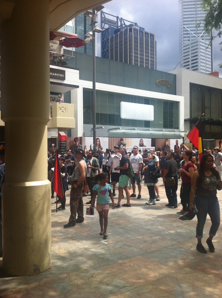 People gathering for the rally. Photography: ICWA